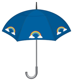 Parapluie bleu à motif arc-en-ciel