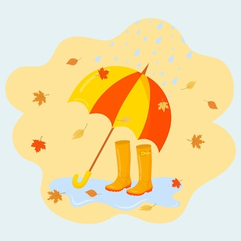Parapluie, bottes en caoutchouc et feuilles d'automne qui tombent. illustration vectorielle d'automne.