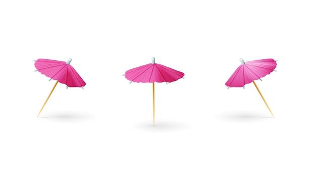Parapluie de cocktail 3d papier rose isolé sur fond blanc