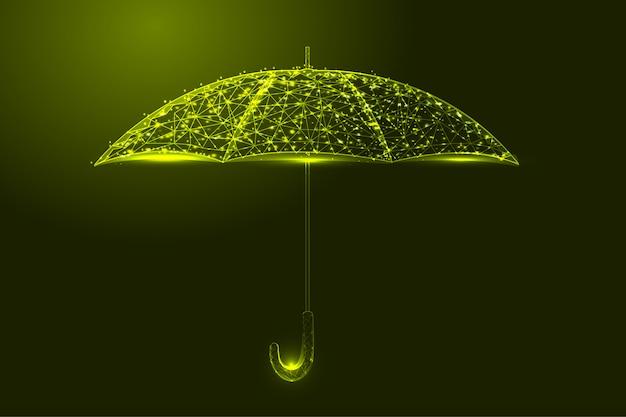 Parapluie de couleur jaune clair faible illustration polygonale
