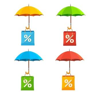 Parapluie avec ensemble d'étiquettes de vente de sac en papier.