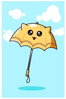 Parapluie jaune kawaii, illustration de dessin animé