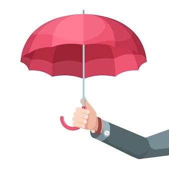Parapluie en main. concept photo homme d'affaires détenant de grands symboles de protection parapluie vecteur fond plat. homme d'affaires avec parapluie, illustration confortable d'assurance de service