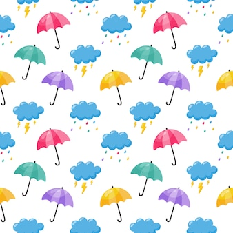 Parapluie de modèle sans couture de bébé mignon coloré nuage, pluie et foudre