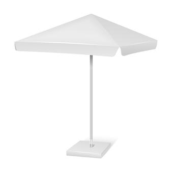 Parapluie de parasol publicitaire blanc carré publicitaire isolé sur fond blanc. maquette vecteur ca