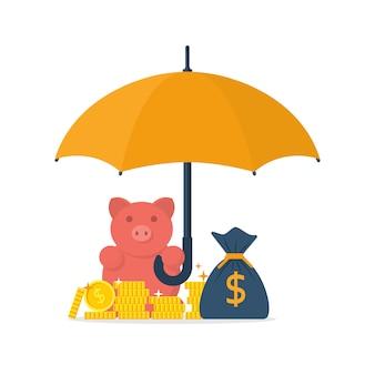 Parapluie sur pièces de monnaie, sac d'argent et tirelire