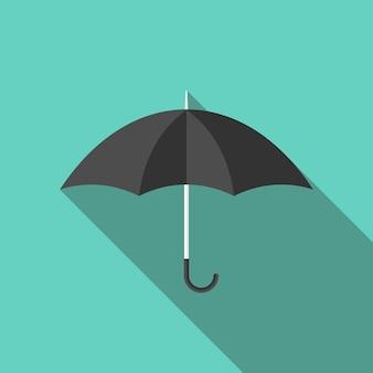Parapluie plat noir avec ombre portée sur bleu turquoise. concept de mode, météo, pluie, saison et assurance. illustration vectorielle eps 8, pas de transparence