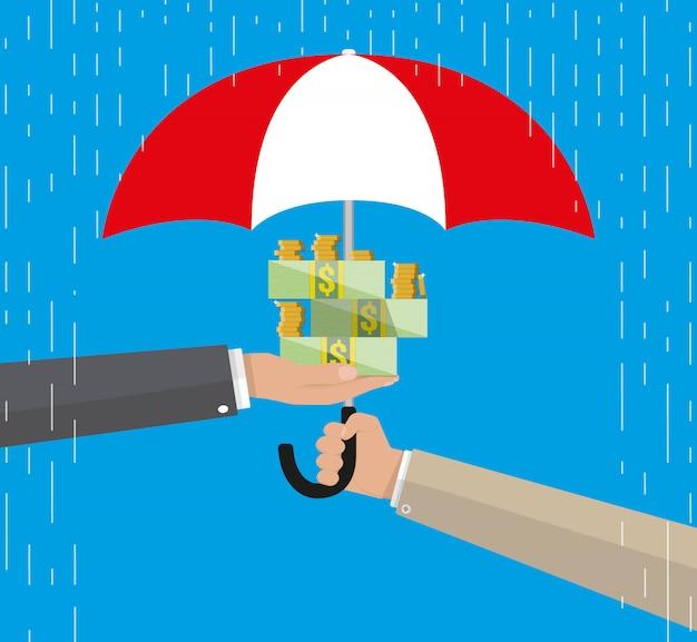Parapluie pour protéger l'argent