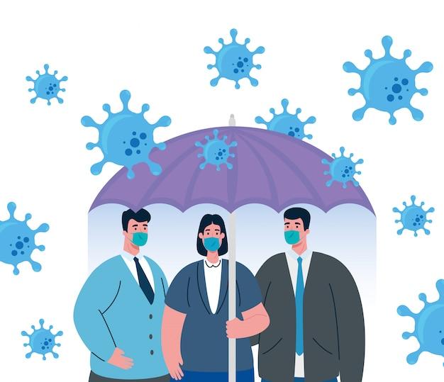 Parapluie protégeant les gens d'affaires, concept de coronavirus inmmune