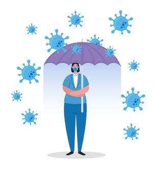 Parapluie, protéger, femme affaires, inmmune, coronavirus, concept