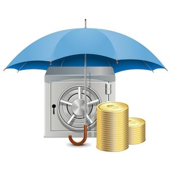Parapluie vectoriel et coffre-fort