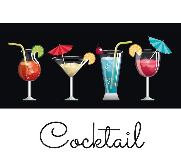 Parapluie de verre cocktail et design de citron de collection