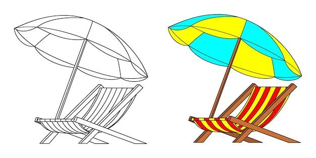 Parapluies et chaises d'été, livre de coloriage ou page, illustration vectorielle