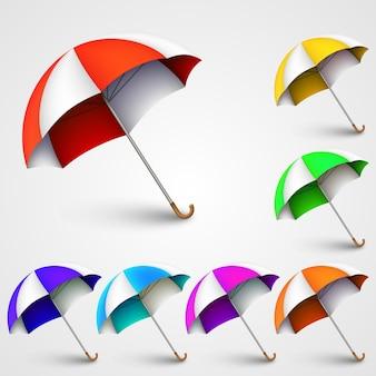 Parapluies colorés art bannière nature. illustration vectorielle