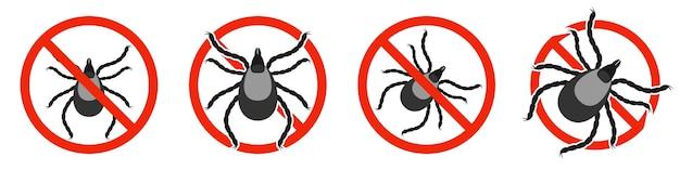 Le parasite acarien avec panneau d'interdiction rouge isolé sur blanc