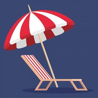 Parasol avec chaise de bronzage à l'heure d'été
