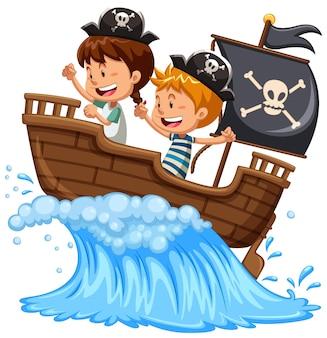Parate les enfants sur le bateau sur blanc