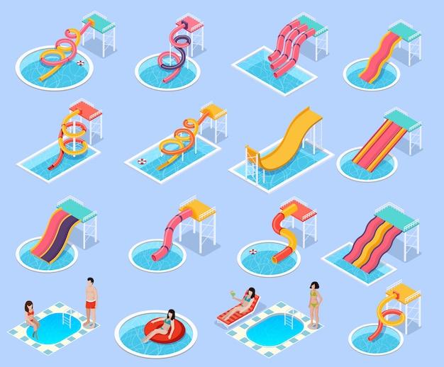 Parc aquatique aquapark isometric icon set