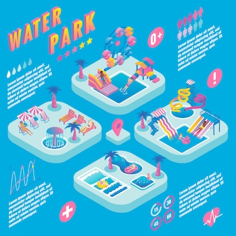 Parc aquatique isométrique infographique