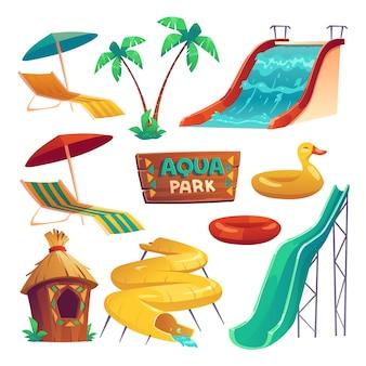 Parc aquatique avec toboggans, anneaux gonflables, parasols et chaise longue