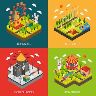 Parc d'attractions 4 place des icônes isométriques