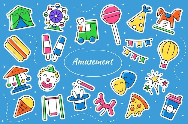 Parc d'attractions - autocollants de dessin animé. collection de symboles vectoriels de divertissement.