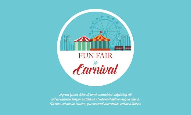 Parc d'attractions et bannière de carnaval