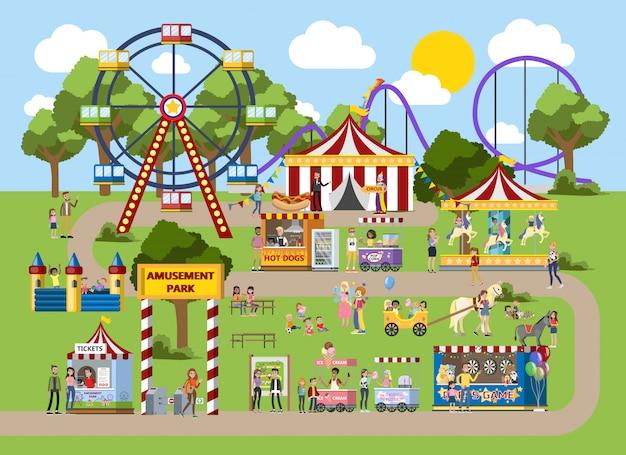 Parc d'attractions avec chapiteau de cirque, carrousels et clowns. les enfants et leurs parents s'amusent dans le parc. paysage d'été urbain. illustration vectorielle plane