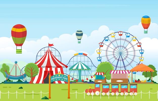 Parc d'attractions cirque carnaval festival foire paysage illustration