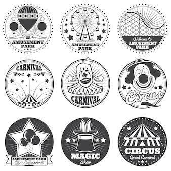 Parc d'attractions, cirque et carnaval vectoriels emblèmes vintage et étiquettes