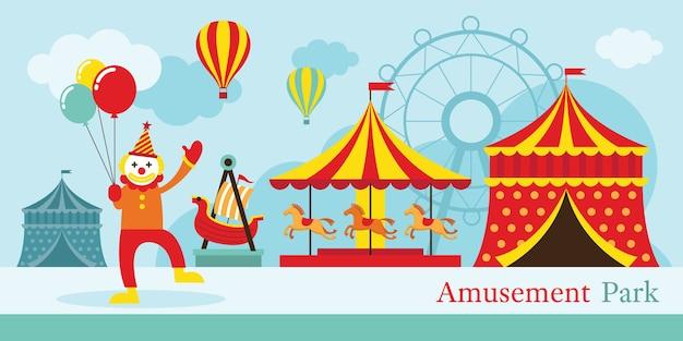 Parc d'attractions, cirque, clown, carnaval, fête foraine, parc à thème