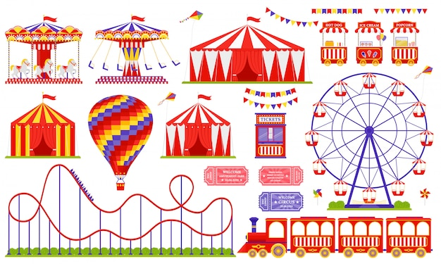 Parc d'attractions, cirque, thème du carnaval. sertie de grande roue, tente, carrousel, montagnes russes, montgolfière, train.