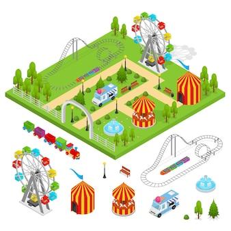 Parc d'attractions et conception de vue isométrique du jeu de pièces.