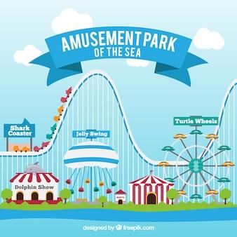 Parc d'attractions de fond