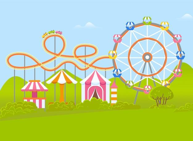 Parc d'attractions avec grande roue et attraction