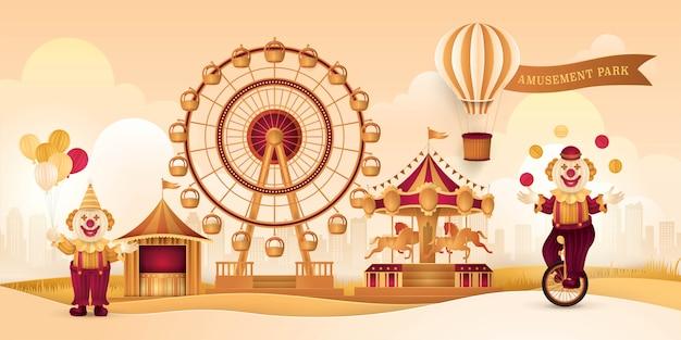 Parc d'attractions avec grande roue, tentes de cirque, foire du carnaval