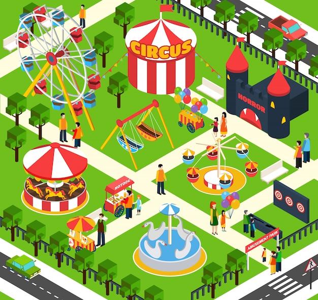Parc d'attractions isométrique