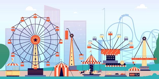 Parc d'attractions avec montagnes russes et grande roue.