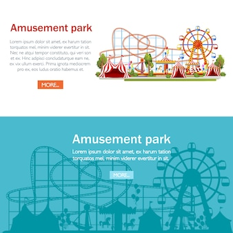 Parc d'attractions. . roller coaster, carrousel, bateau pirate et tentes rouges. illustration sur fond blanc. concept de divertissement. page du site web et application mobile.