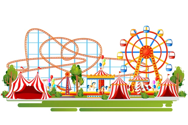 Parc d'attractions. . roller coaster, carrousel, bateau pirate et tentes rouges. illustration sur fond blanc. page du site web et application mobile.