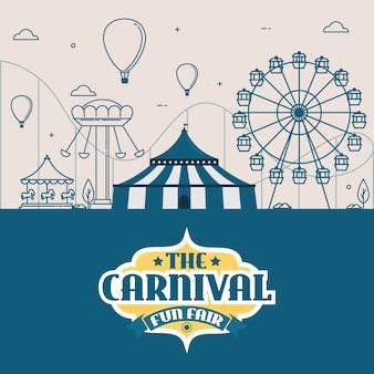 Parc d'attractions avec tente, cirque, manège et montagnes russes