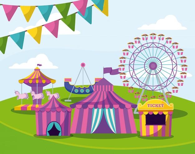 Parc d'attractions avec tentes cirque