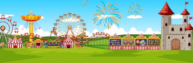 Parc d'attractions à thème paysage scène panorama vue style cartoon