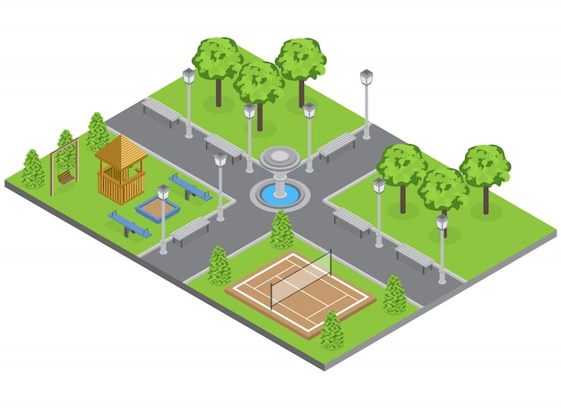 Parc de banlieue avec pelouse d'arbres et terrain de sport isométrique