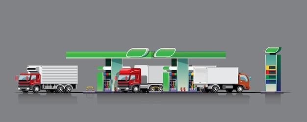 Parc de camions de camions de carburant pour faire le plein à la station-service