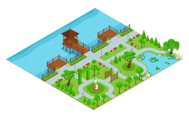 Parc de composition de parc d'aménagement paysager isométrique avec sentiers pédestres au bord de l'eau avec un belvédère