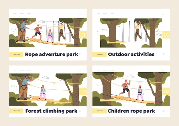 Parc de cordes d'aventure pour enfants et adultes avec des gens dans le parc extrême d'escalade