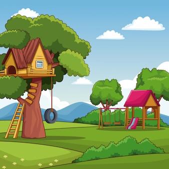 Parc avec dessin animé de cabane et de cabane dans les arbres