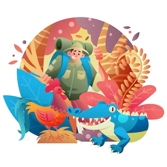 Parc d'écotourisme floral avec homme avec crocodile et coq