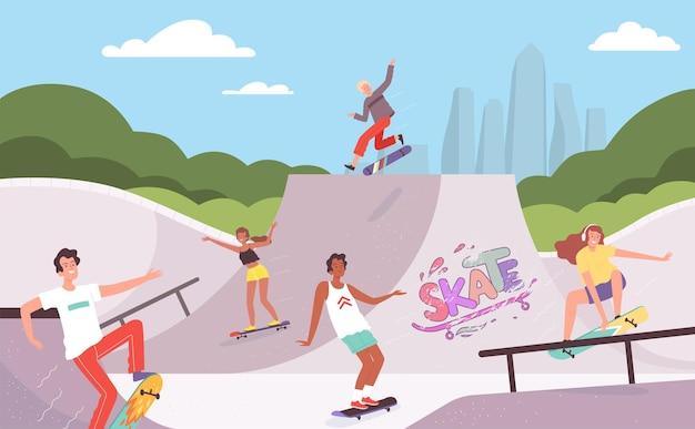 Parc extrême. les activités de plein air des planchistes en action posent des adolescents de rampe de saut hipsters vector background. cavalier extrême d'activité, illustration de sport de skate amusant
